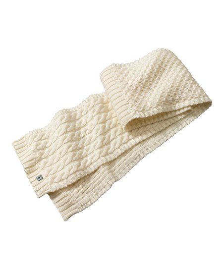 Natural Chunky Cable-Knit Wool-Blend Scarf - Women