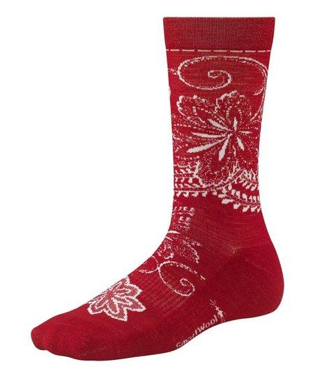 Crimson Floral Scroll Crew Socks - Women