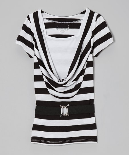 Black Stripe Layered Belted Top - Girls