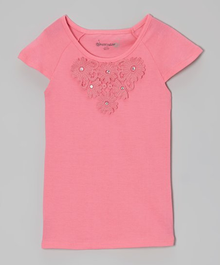 Bright Pink Daisy Cap-Sleeve Tee - Toddler & Girls
