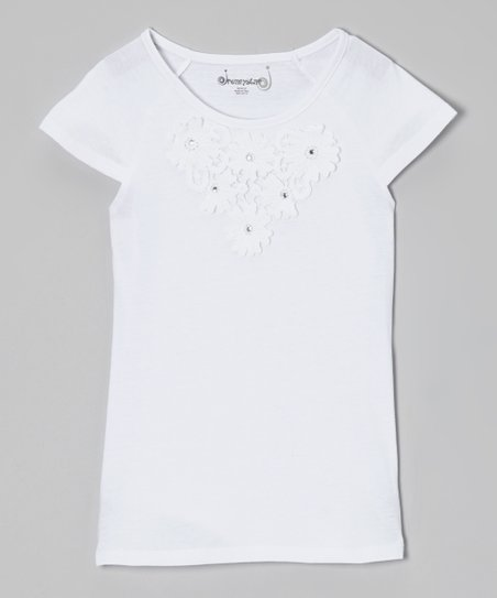 White Daisy Cap-Sleeve Tee - Toddler & Girls
