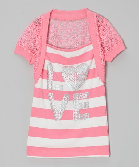 Bright Pink Stripe 'Love' Layered Top - Toddler & Girls