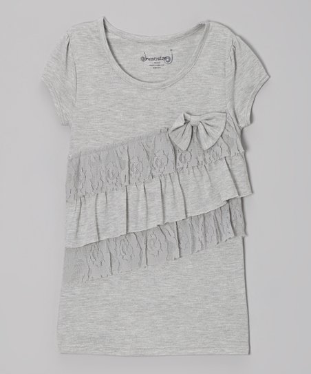 Heather Gray Lace Tiered Ruffle Top - Toddler & Girls