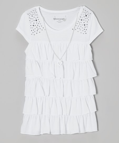 White Tiered Ruffle Top & Necklace - Girls
