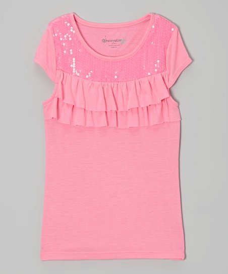 Bright Pink Sequin Yoke Top - Toddler & Girls