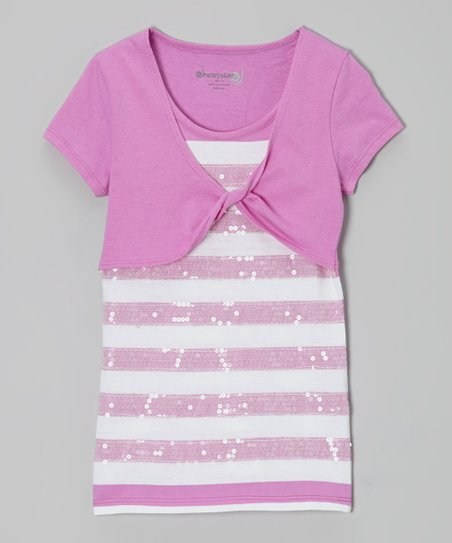 Orchid Stripe Sequin Layered Top - Toddler & Girls