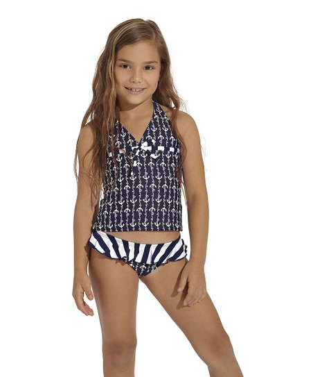 Navy Ania Halter Tankini - Toddler & Girls