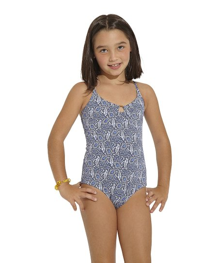 Blue Cassia One-Piece - Girls