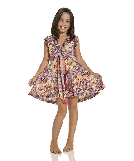 Pink & Red Arabian Soul Sleeveless Cover-Up – Toddler & Girls