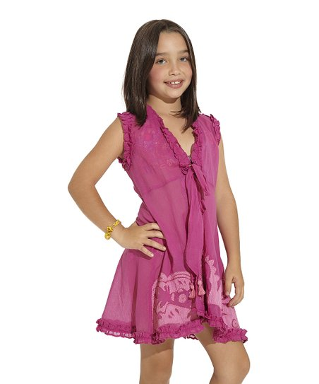 Purple Arabian Soul Ruffle Cover-Up – Toddler & Girls