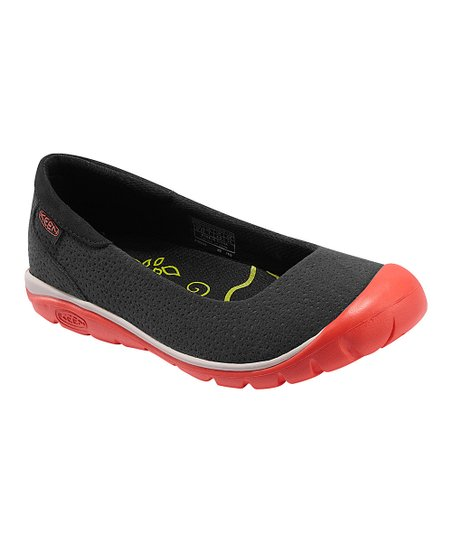 Black & Hot Coral Kanga Ballerina Flat - Women