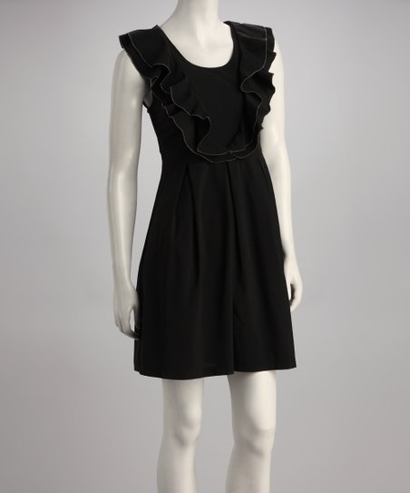 Black Ruffle Sleeveless A-Line Dress