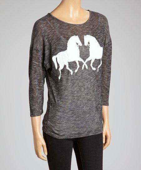 Gray Horse Burnout Top