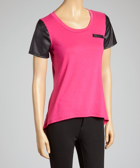 Pink & Black Faux Leather-Trim Tee -