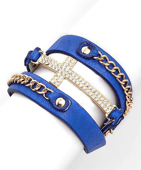 Blue & Rhinestone Wrap Bracelet