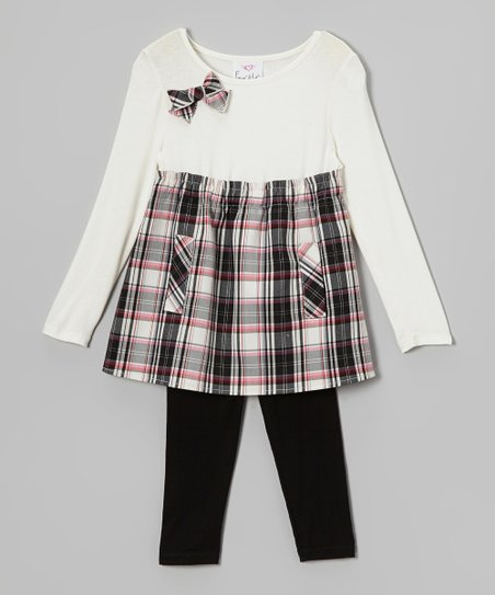 Black & White Plaid Tunic & Leggings - Toddler & Girls