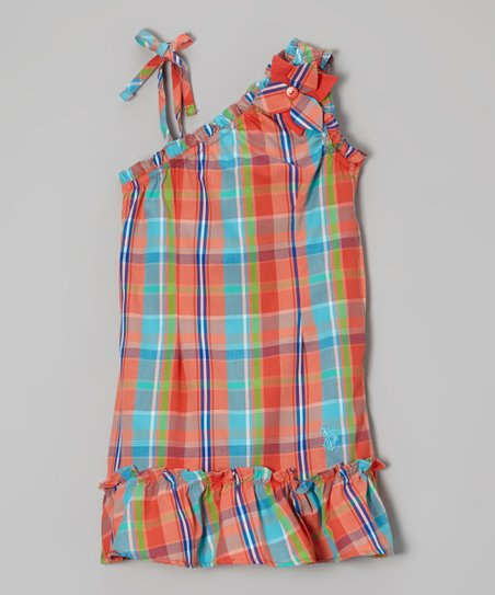 Orange & Aqua Plaid Asymmetrical Dress - Girls