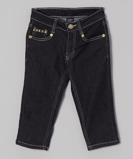 Dark Wash Studded Denim Capri Pants - Girls