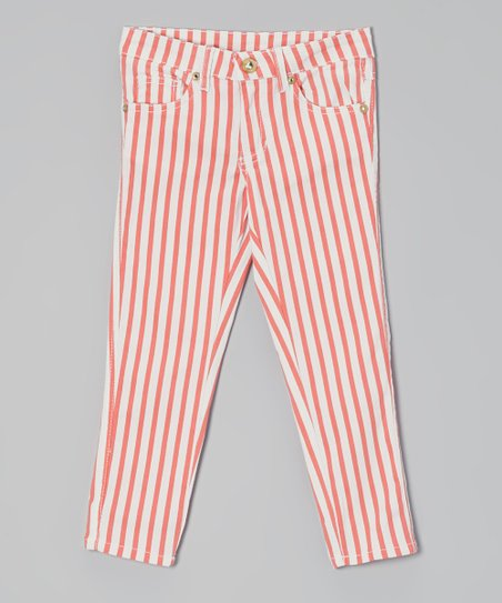 Coral & White Stripe Pants - Toddler & Girls