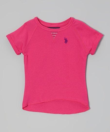 Hot Pink Rhinestone Hi-Low Tee - Toddler & Girls