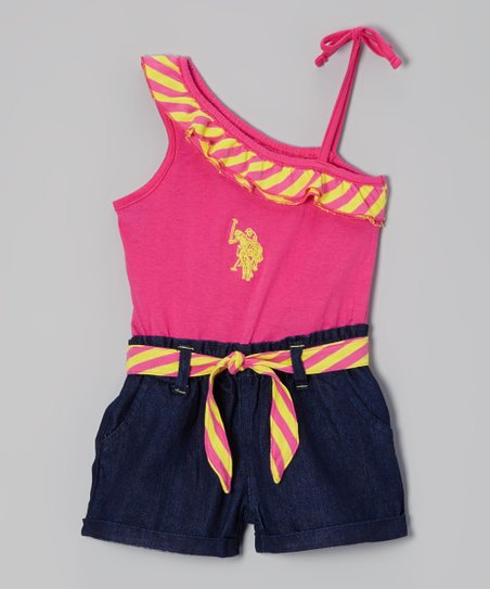 Hot Pink Stripe Asymmetrical Romper - Toddler & Girls