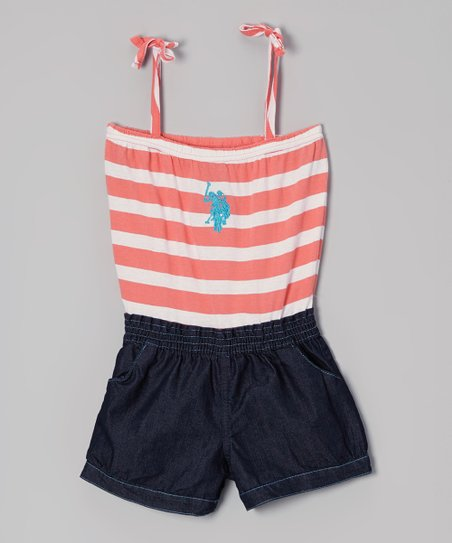 Coral & Denim Tie-Strap Romper - Toddler & Girls