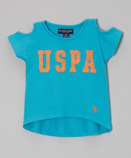 Turquoise Branded Hi-Low Tee - Toddler & Girls