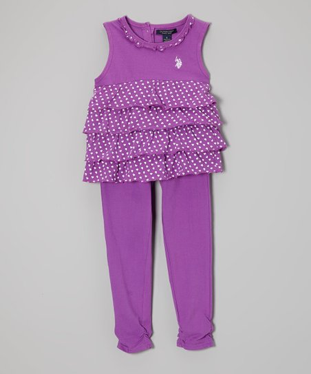 Purple Heart Tiered Tank & Leggings - Toddler & Girls