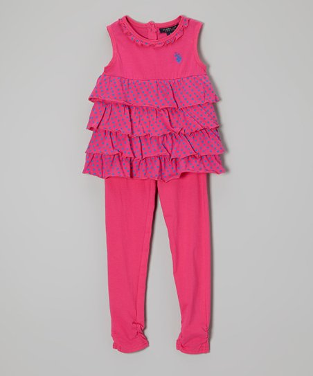 Hot Pink Heart Tiered Tank & Leggings - Toddler & Girls
