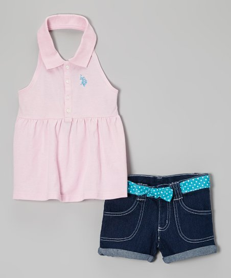 Pink Polo Halter Top & Denim Shorts - Toddler