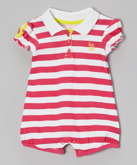 Hot Pink & White Stripe Playsuit - Infant