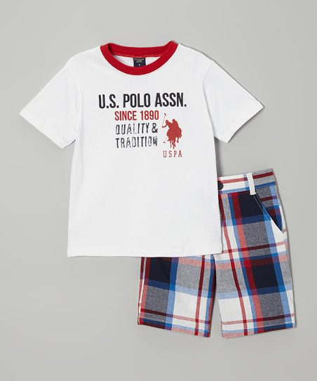 White & Red Tee & Plaid Shorts - Infant, Toddler & Boys