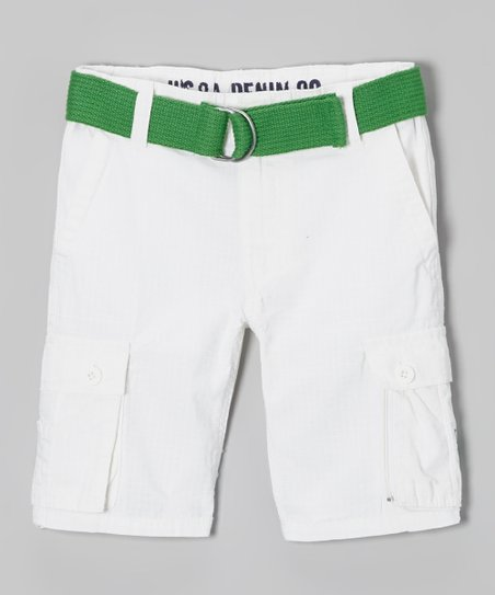 White & Green Cargo Shorts - Boys
