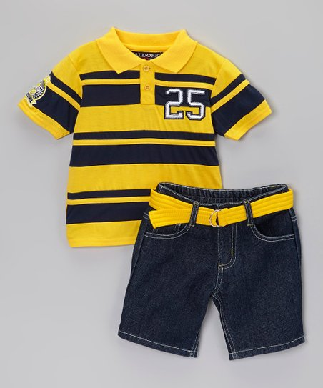 Yellow & Blue Polo & Belted Shorts - Infant, Toddler & Boys
