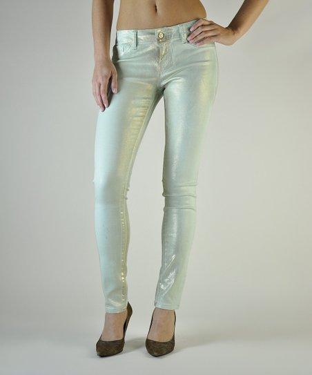 Mint Gold Foil Pastille Skinny Jeans