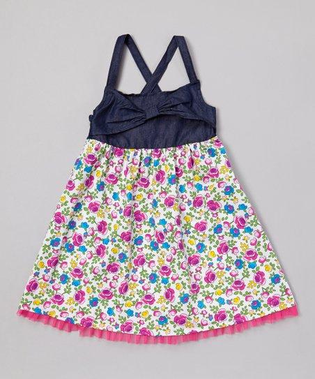 Pink Denim Floral Babydoll Dress - Infant, Toddler & Girls
