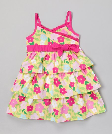 Yellow & Magenta Ruffle Surplice Dress - Infant & Girls