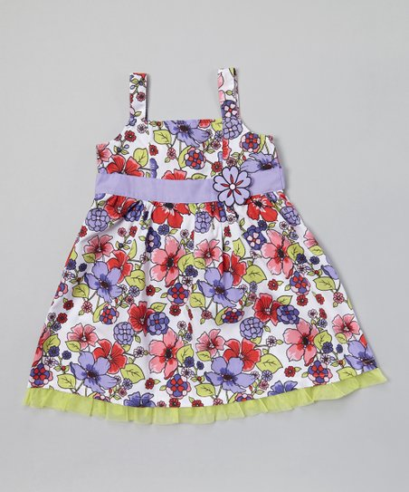 Lavender & Lime Floral A-Line Dress - Infant, Toddler & Girls