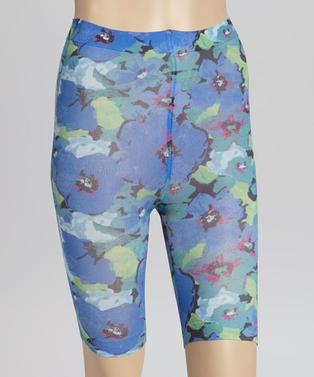 Azure & Lagoon Floral Smoothies Shaper Bike Shorts