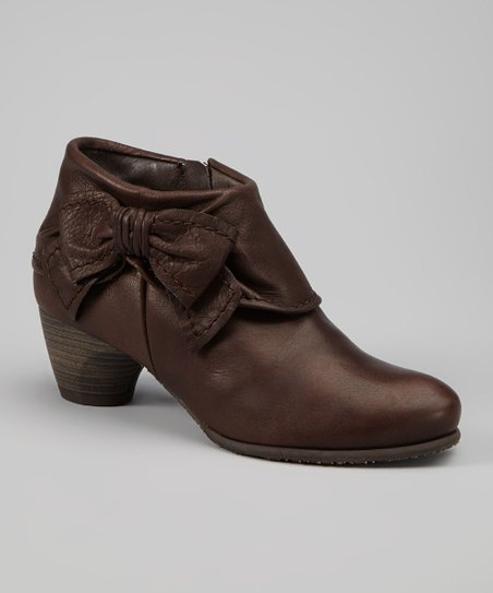 Mocha Bow Leather Abby Bootie