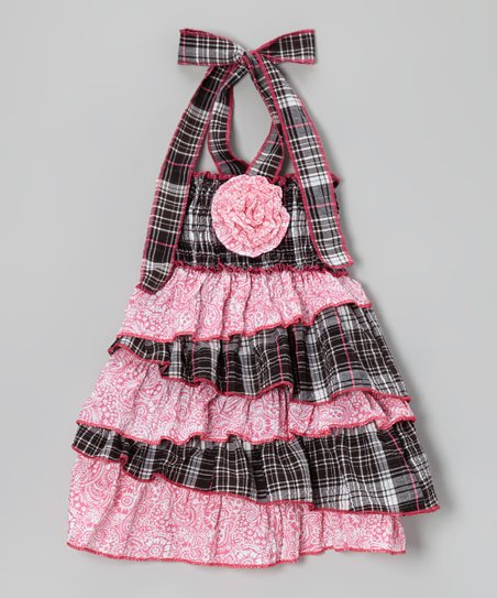 Pink & Black Plaid Tiered Halter Dress - Toddler & Girls