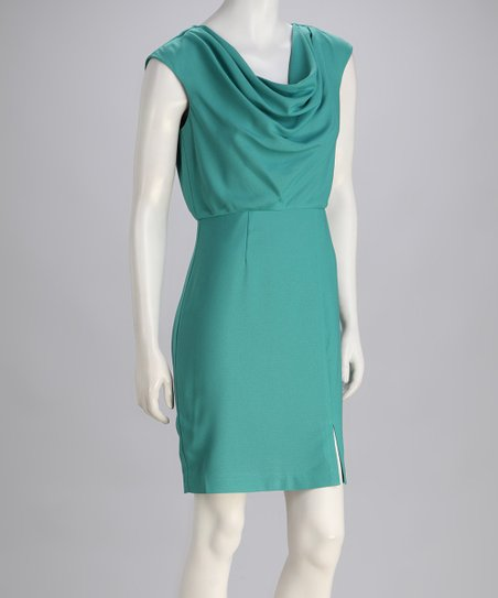 Sage Draped Crepe Dress