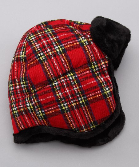 San Diego Hat Company Red Plaid Aviator Hat