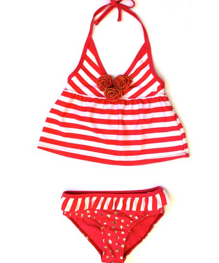 Coral & White Stripe Star Tankini - Infant, Toddler & Girls