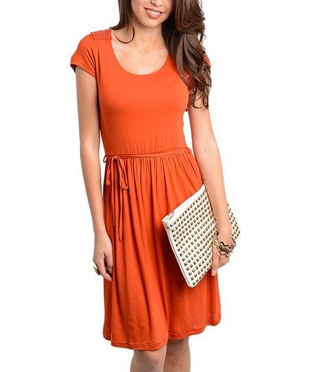 Brick Crocheted Back Scoop Neck Dress