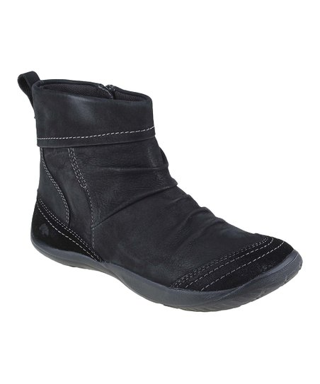 Black Bonanza Vintage Leather Ankle Boot