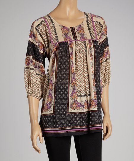 Black Floral Peasant Top - Women