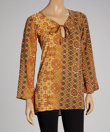 Gold Abstract Peasant Tunic