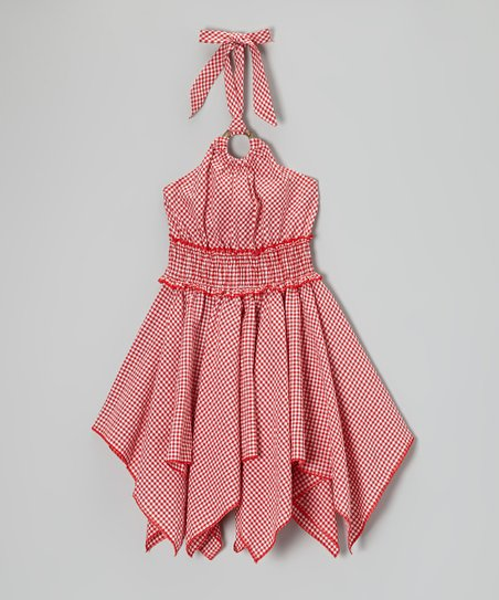 Red Gingham Handkerchief Halter Dress - Toddler & Girls