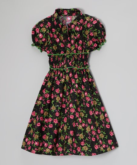 Green Floral Puff-Sleeve Dress - Toddler & Girls